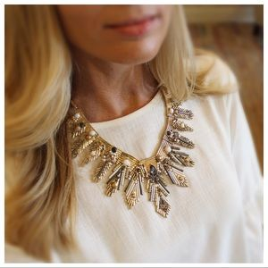 Jewelry - Gold Tone Fringe Rhinestone Statement Necklace